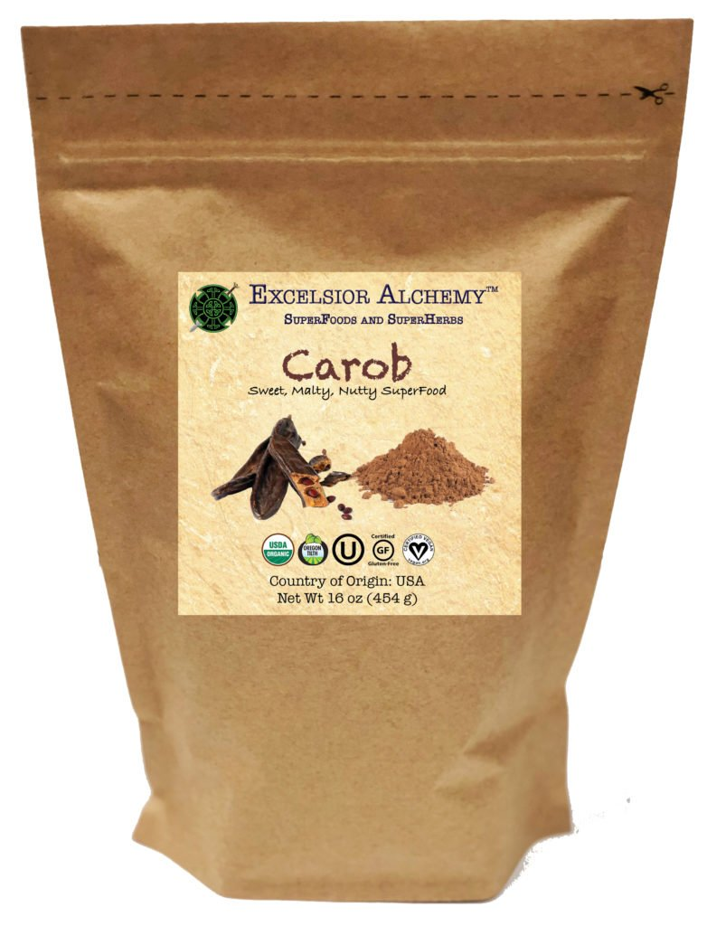 Organic Carob powder is a delicious, non-stimulating, lightly-roasted superfood made from the ground-up pods of the carob tree (Ceratonia siliqua), native to the Mediterranean region.