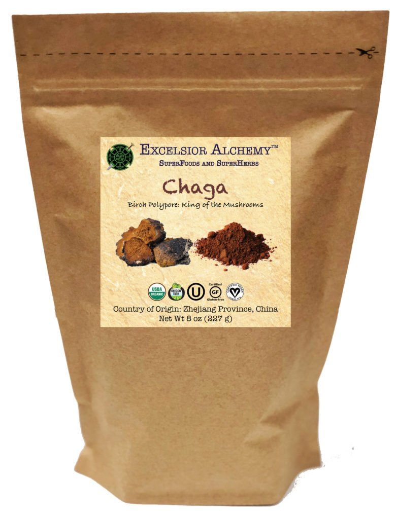 Organic Chaga (Inonotus obliquus) is a magical birch tree polypore from northern cold climates. Chaga is a traditional herbal sacrament used around the world and is a well-studied, and respected adaptogen.